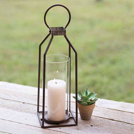 Metal Framed Pillar Candle Lantern