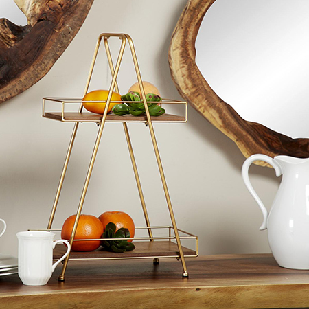 Gold Finish A-Frame Two Tier Stand