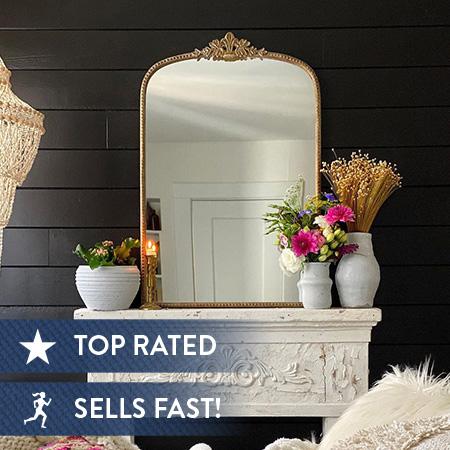 HUGE Antique Inspired Gleaming Metal Mirror