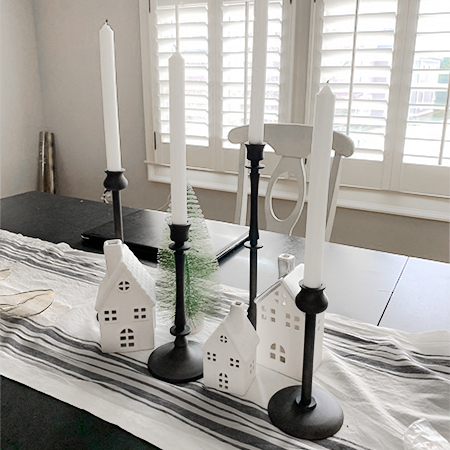 Hand Forged Iron Taper Candle Sticks, Set of 4